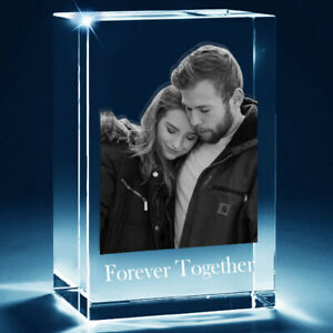 3D Photo Crystal Block Cube Memory Gift with Bevelled Edge - 10cm X 6cm X 6cm