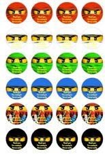 24 x 4 cm Personnalisé Lego Ninjago Yeux anniversaire Autocollants Fête Sac merci