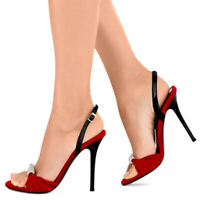 Womens Suede Sandals Open Toe Ankle Buckle High Heels Pumps Slingbacks Shoes New