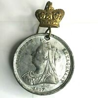 1897 Queen Victoria Diamond Jubilee Medal White Metal 35 mm