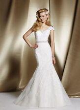 Lace V Neck Mermaid & Trumpet Cap Sleeve Wedding Dresses