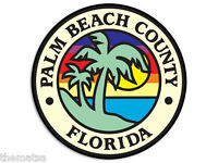 "PALM BEACH COUNTY  FLORIDA CITY SEAL 4"" HELMET STICKER DECAL MADE IN USA"