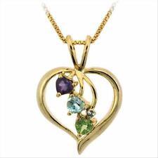 "18K Gold over 925 Silver Multi-Gemstone & Diamond Accent Heart Pendant, 18"""