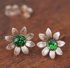 Neu OHRSTECKER rosegold 5mm SWAROVSKI STEINE fern green/grün BLÜTEN OHRRINGE