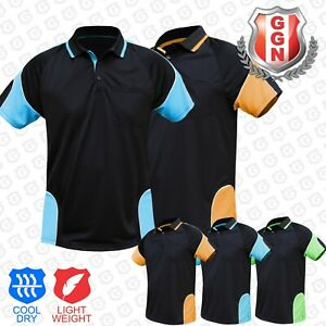 HI VIS POLO SHIRT (HIVIS ARM PANEL PIPING) WORK WEAR COOL DRY SHORT SLEEVE