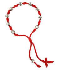 Red Decenario Pulseras Silver Knotted Cross Decade Rosary Thread Bracelet Friend