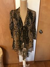 Elizabeth and James Leopard Print Silk Open Front Tunic with Feather Ties XS