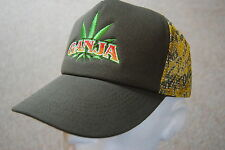GANJA EMBROIDERED CANNIBIS LEAF TRUCKER CAP BNWT STONED DOPE HERB SMOKE PARTY
