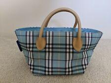 Authentic Burberry Blue Label Nova check Blue Nylon Canvas & Leather Handbag