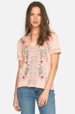 Johnny Was JWLA V Neck Embroidered Katrina Everyday Tee Top New Boho Chic J15018