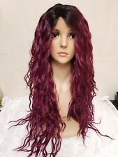 Purple & Red curly perm human hair wig lace front long soft lace