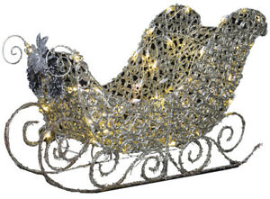 CHRISTMAS SANTA REINDEER SPARKLE LED WIRE RING SLEIGH SLED DECORATION 42 INCHES