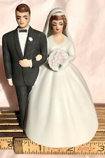Vintage Bride and Groom Wedding Cake Topper Bell Lefton Hand Painted Bisque 4""