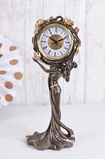 Table Clock Art Nouveau Lady Deco Mantel Antique Female Figure Vintage