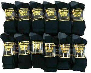 10/20 Pairs Mens Cotton Rich Black Cushion Sole Sport Work Socks Shoe Size 6-11
