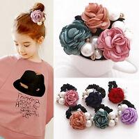 Femmes Rose Fleur Perles Perles Cheveux Bande Corde Chouchou Queue De Che FE