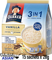 QUAKER OATS 3-in-1 Oat Cereal Drink VANILLA (15 sachets x 28g)