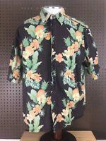 Reyn Spooner Joe Kealuha's Brown Pineapple Floral Hawaiian Camp SS Shirt Men's L