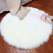 Round Fluffy Rug Shaggy Floor Mat Soft Faux Fur Home Room Bedroom Hairy Carpet