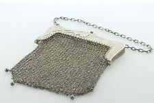 Antique Victorian Sterling Silver 'G.B Sun 925 K' Mesh Chatelaine Purse Handbag