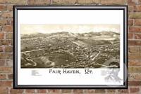 Vintage Fair Haven, VT Map 1886 - Historic Vermont Art Old Victorian Industrial