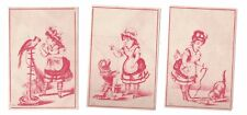 3 Girl with Animals Victorian Trade Cards Dog, Cat, Parrot