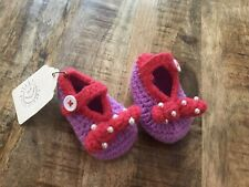 Handmade Baby Girl Beaded Bow Mary Jane Style Bootie Size 0-3 Months Nwt