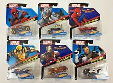 Marvel Hot Wheels - Lot of 6 Cars Iron Man -Spider-Man -Wolverine - Deadpool etc