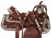 FANCY HAND CARVED WESTERN SILVER SHOW HORSE TRAIL LEATHER SADDLE TACK 16