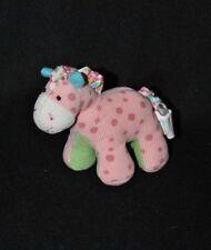 Peluche doudou cheval âne GUND rose à pois vert blanc 10 cm TTBE