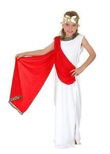 Girls Roman Goddess Costume Greek Toga School Soldier Book Week Day Fancy Dress