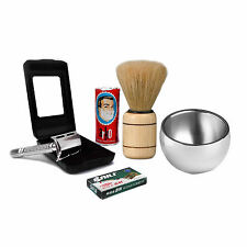 Unique Shaving Set Double Edge Safety Razor Natural Shaving Grooming Kit Gifts