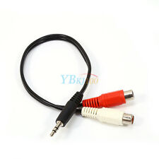 Male to 2 RCA Female M/F Stereo Audio Cable Converter Adapter Adaptor 3.5mm Aux