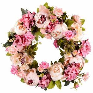 Artificial Flower Wreath Peony Wreath 16inch Door Wreath Spring Wreath Round New
