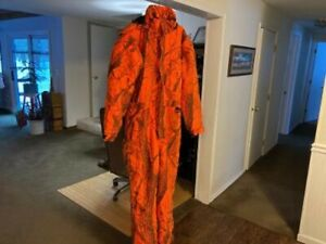 CABELAS INSULATED ORANGE CAMO COVERALLS