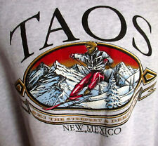 2XL XXL True Vtg 90s TAOS NEW MEXICO SKI SKIER GRAPHIC Gray SWEAT SHIRT MADE USA