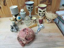 Lot of Skulls, Horror Props, Cups, Novelty, Pen, Motorcycle (Pewter?)
