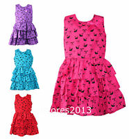 Summer Dress with Ruffle Bow Party Girls New Kids Age 2 3 4 5 6 7 8 9 10 years
