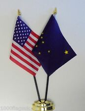 United States of America & Alaska Double Friendship Table Flag Set