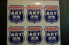 6 BURGLAR ALARM 24 hour SECURITY SURVEILLANCE DECAL STICKER  ADT 'l stickers