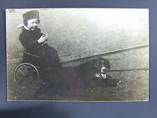 Child Wagon Hunting Dog Gordon Setter Real Photo Postcard 1911 RPPC Ashton Iowa