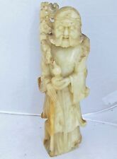 "10"" Chinese Hand Carved White & Yellow Soapstone Immortal Iron Crutch Li Tieguai"
