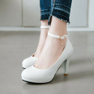Women's Grace High Heels Faux Leather Solid Ankle Buckle Pumps Party Prom Shoes
