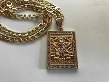 "Jesus Malverde Gold Plated Pendant with 26"" Necklace Shinny Brand New Great"