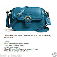 Authentic Coach 25150 Campbell Leather Small Camera/Camcorder Shoulder Bag Teal