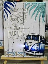 Kombi Light Up LED mini Stretch Canvas Cruise Relax Affirmation Lisa Pollock