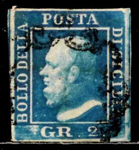 SICILY, ITALY: 1859 19TH CENTURY CLASSIC ERA STAMP SCOTT #13C CV $140 SOUND
