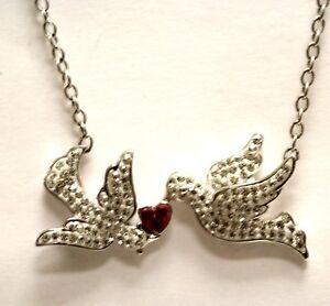 925 sterling silver love birds doves swarovski pendant necklace 5.3g