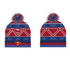 Cuffia bambino SUPERMAN cappello invernale rosso e azzurro con pon pon 86e23db70594