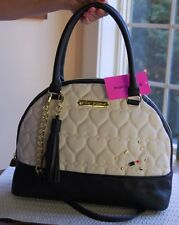 NWT Betsey Johnson Quilted Heart Full Size Dome Satchel Bone Black Lipstick